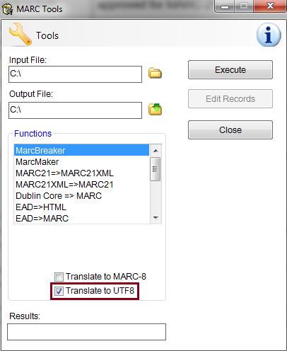 MarcEdit Translate to UTF8 Tool