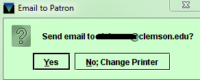 Email to Patron Address Confirmation