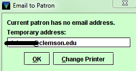 Temporary Email to Patron Address