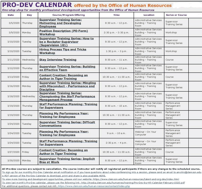 CU HR March Professional Development Calendar