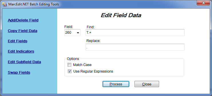Edit Field Data Window with a Regular Expression
