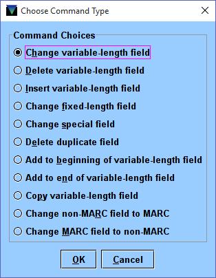 2 Global Update Command Input Window
